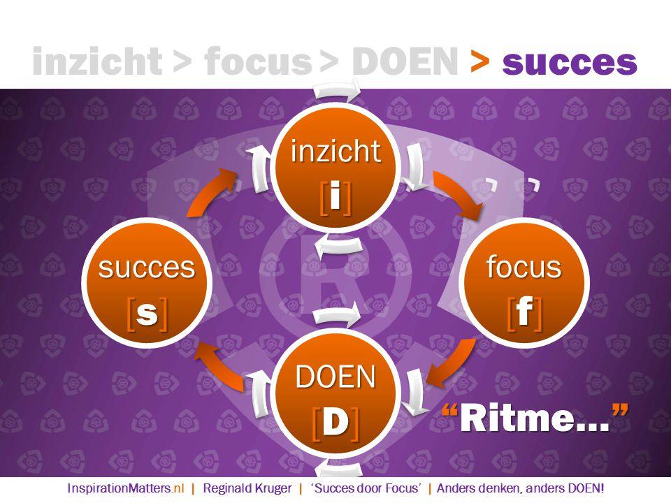 inzicht > focus > DOEN > succes [i] [s] [f] [D] Ritme…